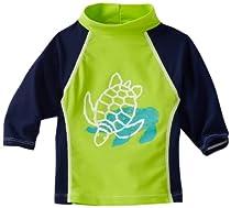 Flap Happy Baby-boys Infant Upf 50+ Screen Printed Rashguard Shirt, Turtle Tidepool, 18 Months