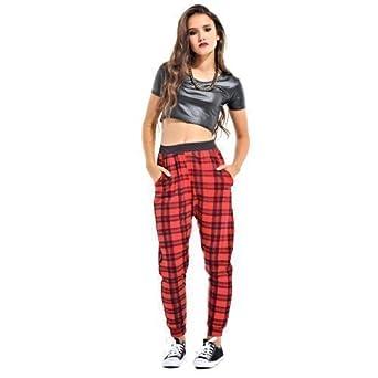 Womens Tartan Print Trousers