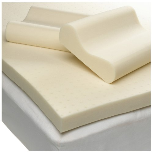 Sleep Studio Ventilated 3-Inch Thick Memory Foam Mattress Topper with Two Contour Pillows, Queen