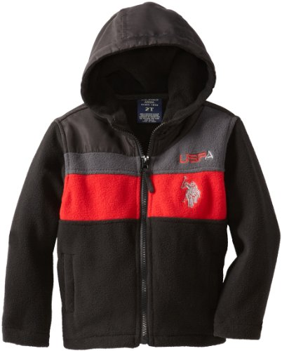 U.S. Polo Association Little Boys' Polar Fleece Jacket, Black, 2T