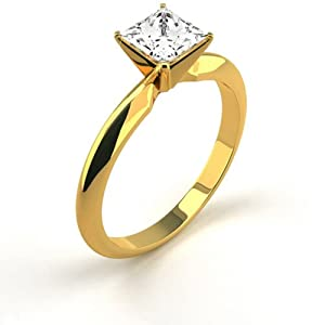14K Yellow Gold Solitaire Diamond Ring Natural 0.51 Carat Weight Princess G SI1 IGL Certificate