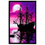 (23x35) Moonlit Pirate Ghost Ship Blacklight Poster Art Print