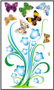 Blue Flowers Plant and Butterflies Peel and Stick Wall Sticker and Decal