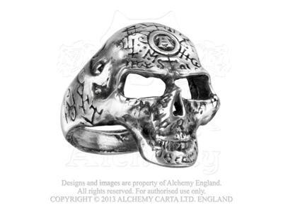Alchemy Omega-Anello gotico a forma di teschio