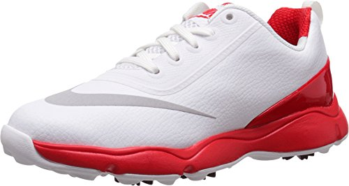 Nike Control Junior Golf Shoes (5 Y, White/Metallic Silver/Bright Crimson)