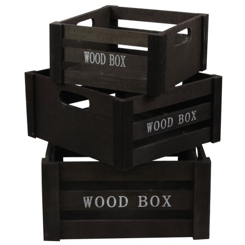 Black Nested Set of 3 Wooden Crates
