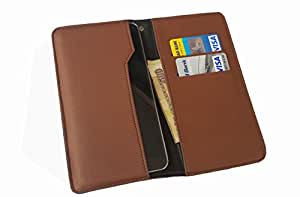 nKarta TM OD Brown Flip Flap Wallet Pouch Mobile Cover Case with Card holder Slots for HTC Desire HD2