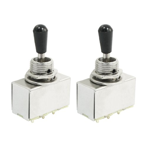 2 Pcs Panel Mount Chrome Box 3 Way Toggle Switch For Electric Guitar