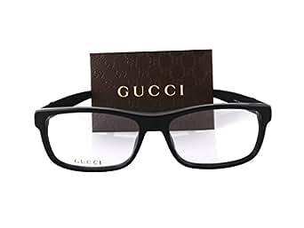 Amazon.com: Gucci GG1066 Eyeglasses 56-16-145 Black Red
