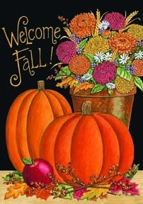 Welcome Fall Pumpkin Mini Flag