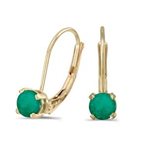 14k Yellow Gold Round Emerald Lever-back Earrings