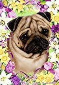 Pug Fawn by Tamara Burnett Easter Flowers Garden Dog Breed Flag 12'' x 18