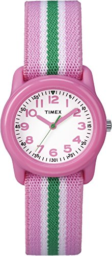 timex-kids-tw7c05900-pink-resin-watch-with-pink-green-striped-elastic-fabric-strap