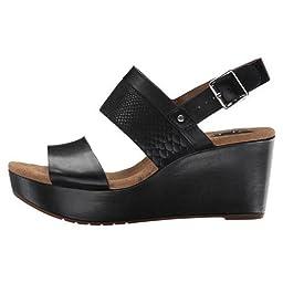 Clarks Women\'s Caslynn Kat Wedge Sandal, Black, 7 M US