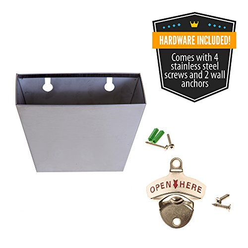 Soula-Designs-Wall-Mounted-Beer-and-Soda-Bottle-Opener-Set-with-Stainless-Steel-Removable-Cap-Catcher-Bin-Free-Mounting-Hardware-Included-Quick-and-Easy-Installation-Mount