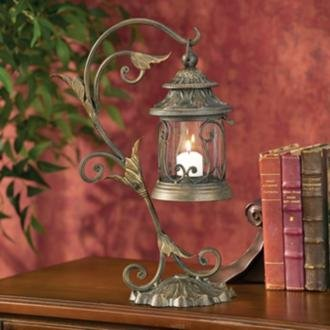 Leaf and Vine Scroll Candle Lantern
