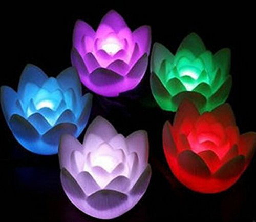 Domire 12 Pcs Fancy Colorful Changing Led Lotus Flower Romantic Wedding Decoration Party Lamp Candle Lights Make A Wish Lights