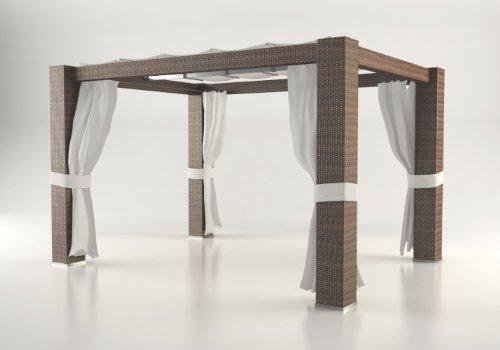 Polyrattan Pavillon PALOMA 4m x 3m braun günstig bestellen