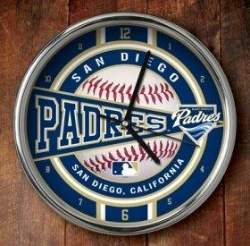 San Diego Padres Chrome Wall Clock