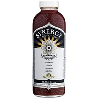 GTs Enlightened Synergy Organic and Raw Kombucha Black Chia, 16 Ounce