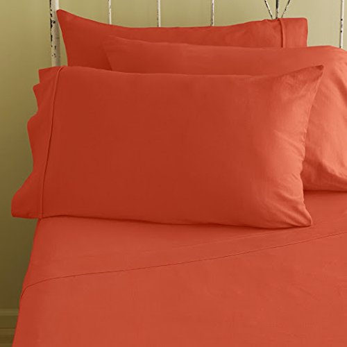 "400 Thread Count Super Soft Extra Deep Pocket Sheet Set King/Eastern King Solid Camilia Orange Fit Up To 18"" Inches Deep Pocket Limited Period Offer front-1038771"