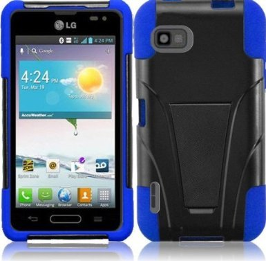 Vmg 3-Item Retractable Car Charger Combo Bundle For Lg Optimus F3 Ls720 (Sprint, Virgin Mobile) Premium Hybrid Hard Soft Protective Case Cover W/ Built-In Kickstand Hinge Armor Shield - Blue + Lcd Clear Screen Saver Protector + Compact Retractable Tangle-