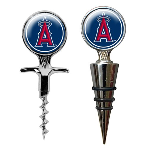 Mlb Los Angeles Angels Stainless Steel Cork Screw And Wine Bottle Topper Set front-271336