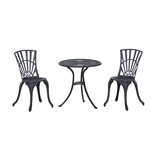 Outsunny 3 Piece Antique Style Outdoor Patio Bistro Dining Set - Black 0