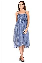 Selfiwear SW-652 Navy Dotted Dress