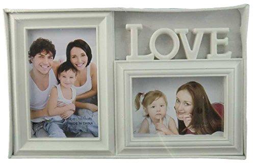 Cornice portafoto provenzale shabby chic bianca per 2 foto scritta LOVE