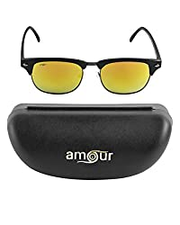Amour ClubMasater Black With Golden Round Sunglass