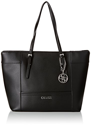 Guess Delaney Medium Classic Tote Borsa a Mano, Donna, Nero