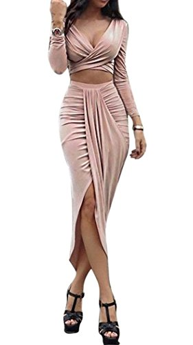 Anmengte Women Sexy Party Dress Clubwear V Long Sleeves Top and Slit Skirt Sets (S, Pink)