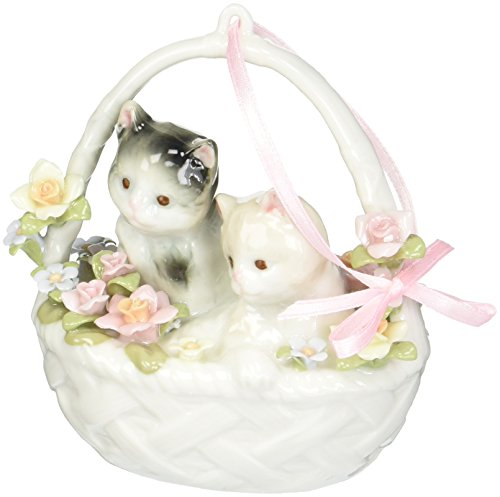 Cosmos SA49119 Fine Porcelain Two Kittens in Basket Musical Figurine, 3-3/4-Inch