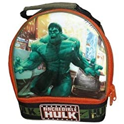 Marvel The Incredible Hulk Olive Green Color Soft Insulated School Lunch Bag/Box with 2 Compartments