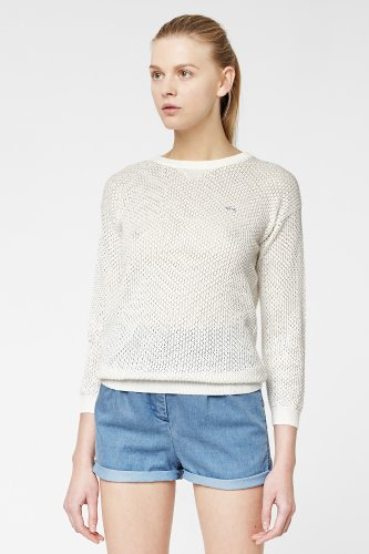 L!ve Long Sleeve Openknit Crewneck Sweater