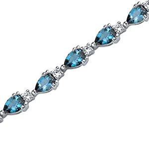 Chic and Beautiful: 6.75 carats Pear Shape London Blue Topaz & White CZ Bracelet in Sterling Silver Rhodium Finish
