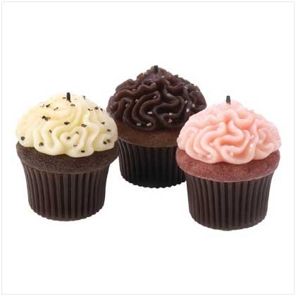 Vanilla Scented Wax Cupcake Dessert Candle Trio Set