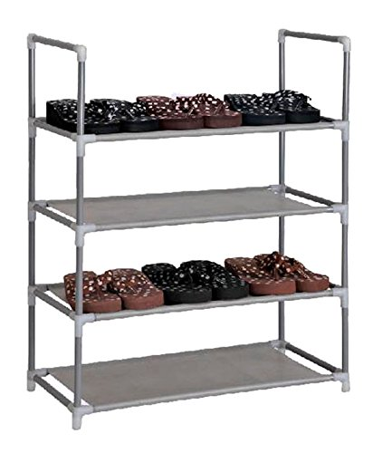 Schuhregal-fr-12-Paar-Schuhe-60x29x73cm-Elegante-Verbindung-von-Stahl-und-Stoff