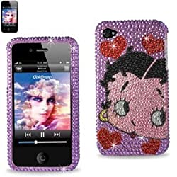 Hard Cover Case Skin Protector for Apple iPhone 4/ 4S/ 4GS - Betty Boop Diamante Diamond