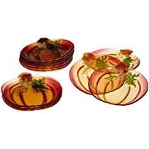 DII Pumpkin Shape Glass Serving Plate 6-Inch Diameter Same Design Set of 12
