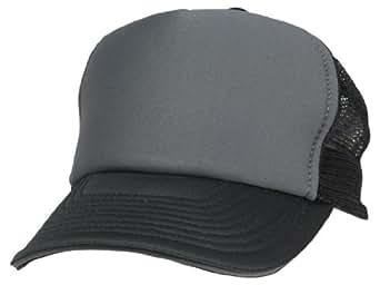 Mesh Trucker Cap Sandwich Bill Adjustable Snapback 5 Panel Plain Hat Black Gray