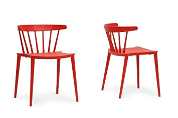 Finchum Red Plastic Stackable Modern Dining Chair with Chanasya Polish Cloth Bundle (Set of Two)