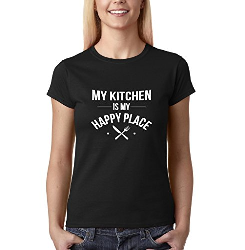 """My kitchen is my happy place Womens T Shirts White Black M UK 12 Euro 36 Bust 34"""""""
