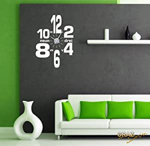 wandtattoo uhr mit uhrwerk wanduhr design wirrwarr aus zahlen deko f r wohnzimmer uhr silber. Black Bedroom Furniture Sets. Home Design Ideas