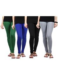 Jbk Arts Women Cotton Lycra Premium Leggings ( Set Of 4 ) ( L4-G-RB-BL-GY, Multi-Coloured, )