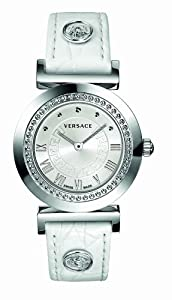 Versace Vanity Unisex Quartz Watch with White Dial Analogue Display and White Leather Strap P5Q99D001 S001