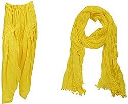 Bhagwati Craft Women's Cotton Regular Fit Patiala With Dupatta (Yellow ,SD009 )
