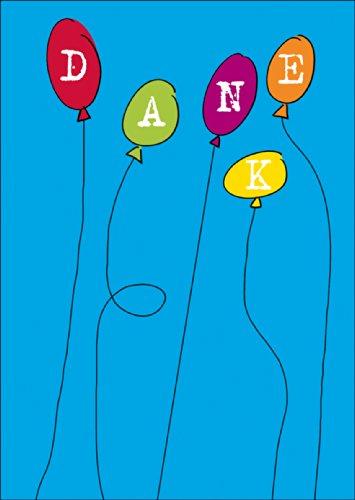 Fröhliche Dankeskarte. Verschicken Sie einen bunten Strauß an Dankes Luftballons. • auch zum direkt Versenden mit ihrem persönlichen Text als Einleger.