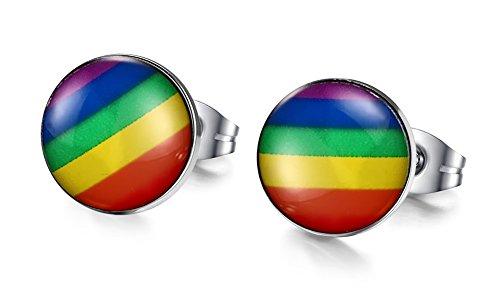 LianDuo Sfera rotonda 8 millimetri Gay Lesbiche LGBT in acciaio inox Arcobaleno Orgoglio della vite prigioniera per l'impegno,Wedding